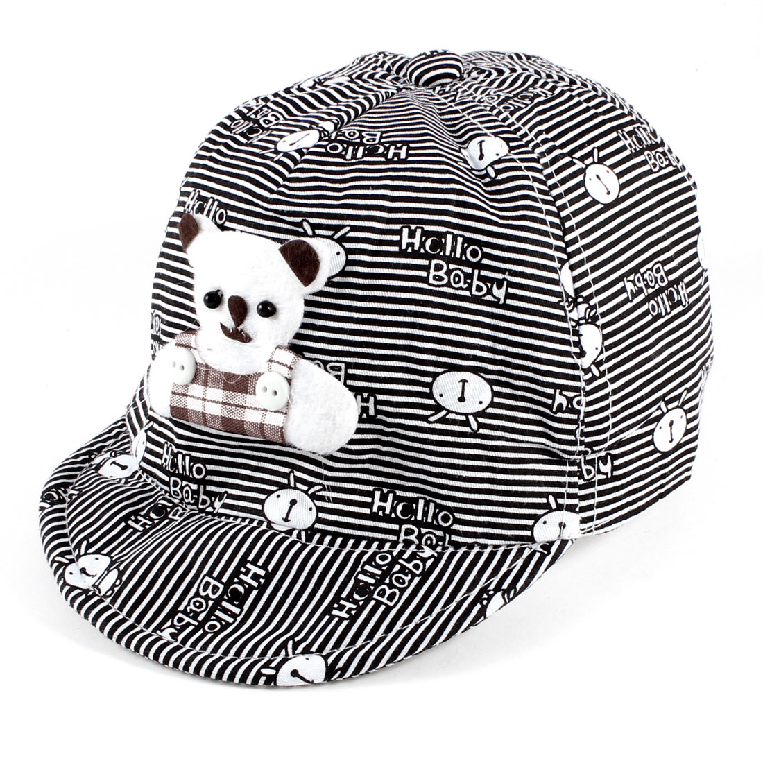 6-12 Months Boys Girls Cartoon Rabbit Print Bear Decor Ball Cap Hat Black White
