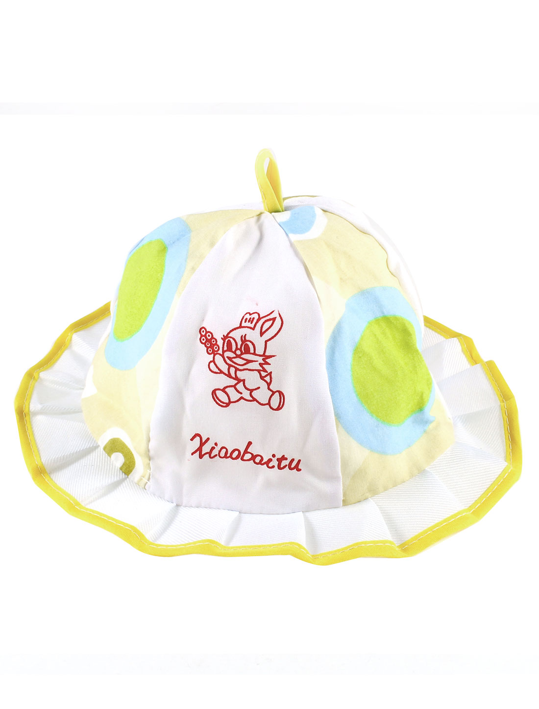 Circle Pattern Wavy Brim Designed Bob Hat White Yellow for Baby Girls