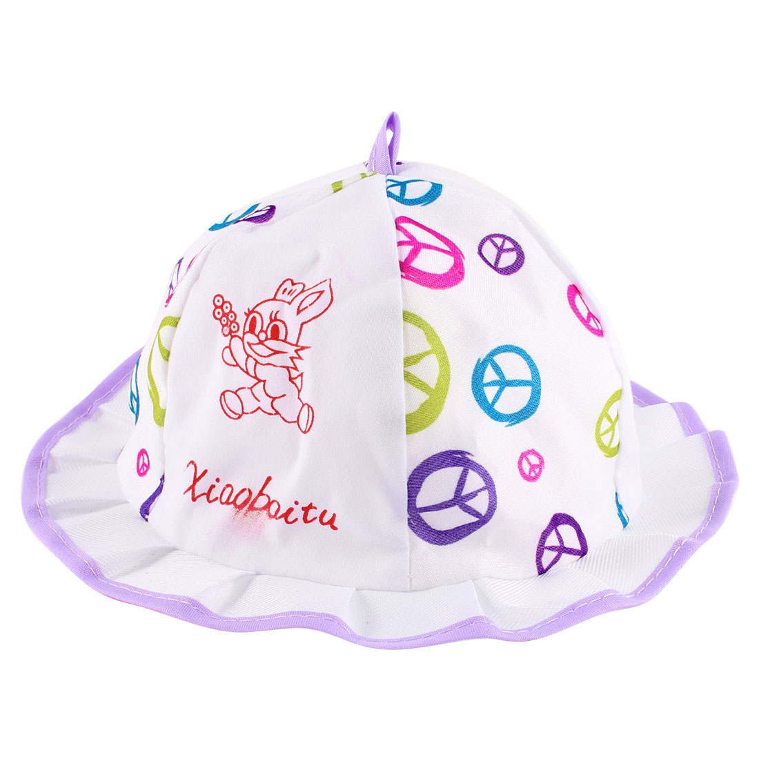 0-6 Months Baby Girls Peace Pattern Summer Cotton Hat White Purple w Neck Strap
