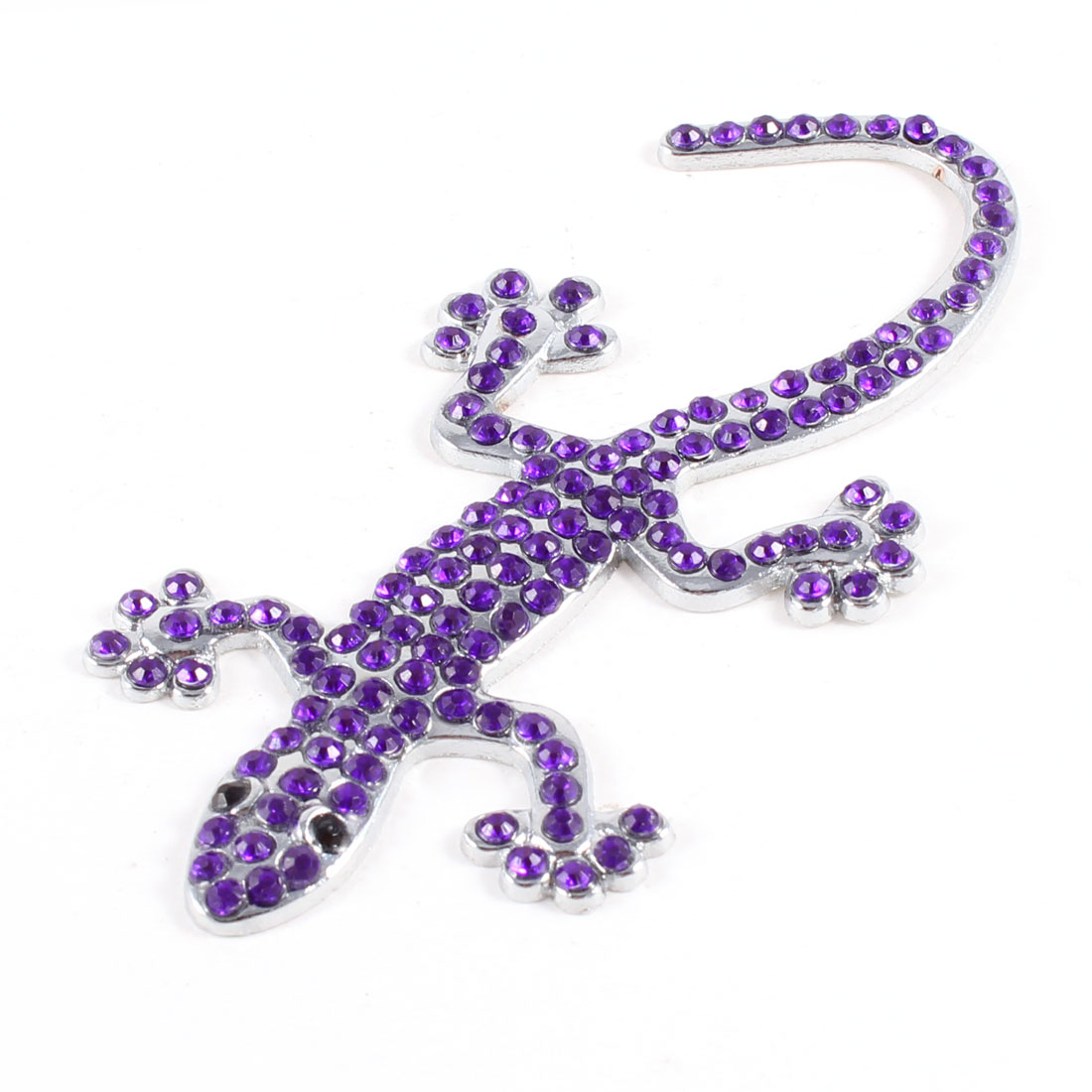 Cars Purple Silver Tone Metal 3D Gecko Shaped Adhesive Paster Badge Sticker