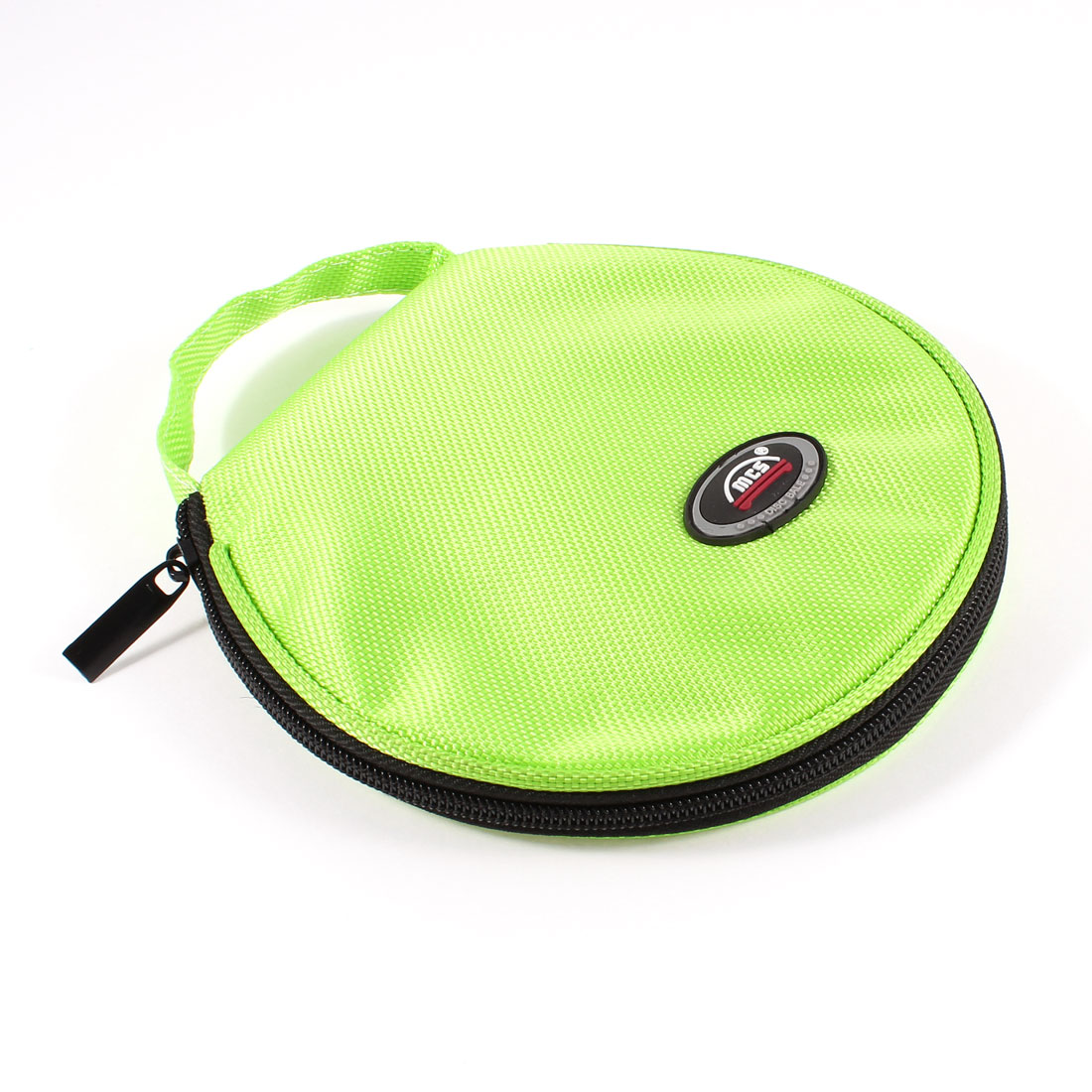 Zip up 20pcs CD Discs Nylon Rounded Bag Storage Container Lime Green for Car