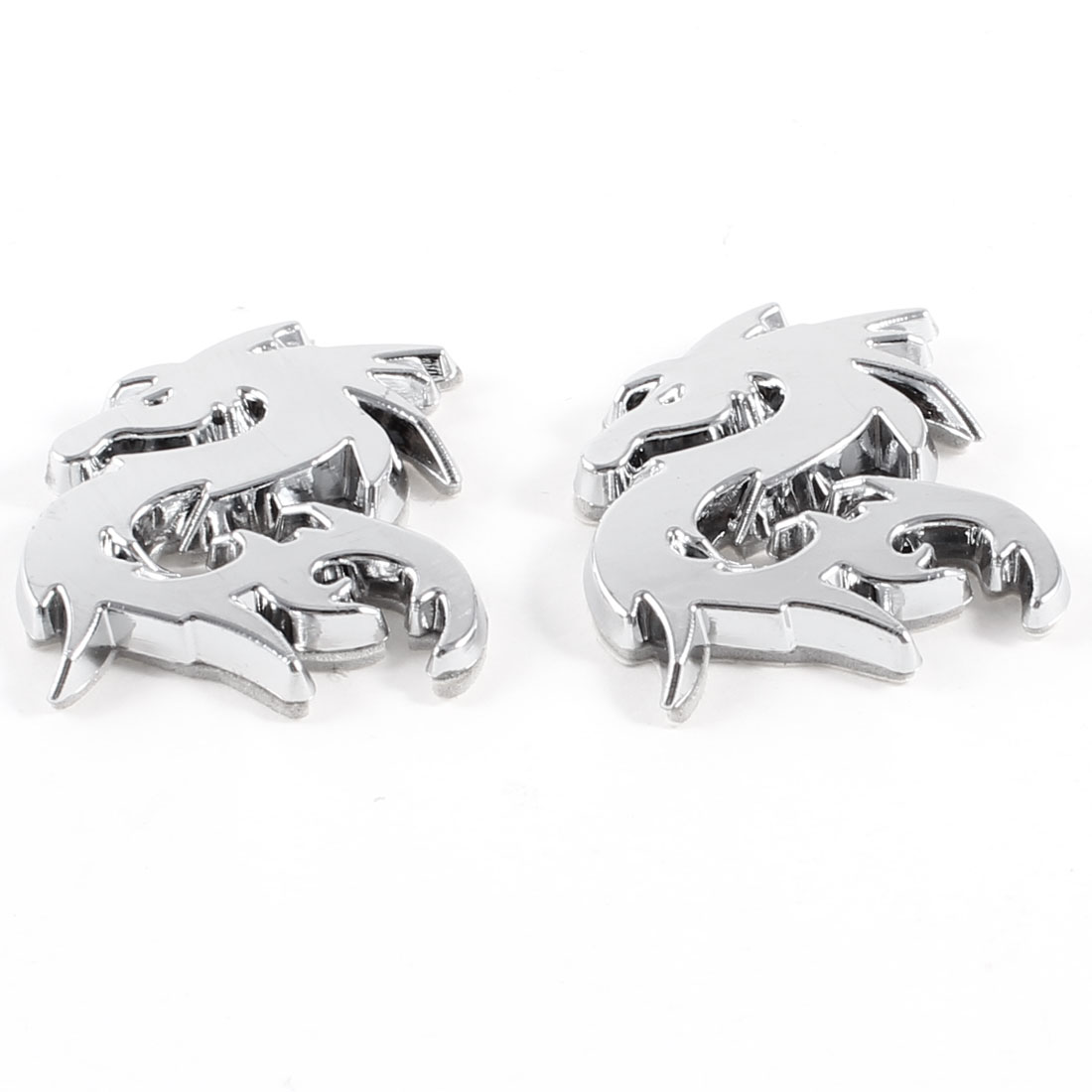 2 Pcs 3D Dragon Shaped Stickers Ornament Silver Tone for Car Vehicles