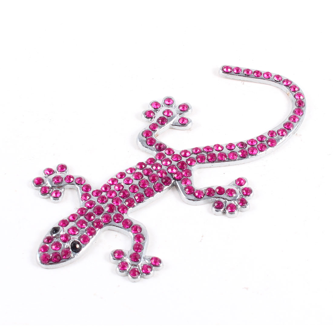 Fuchsia Silver Tone Metal Gecko Shape Adhesive Badge Trucks Cars Sticker