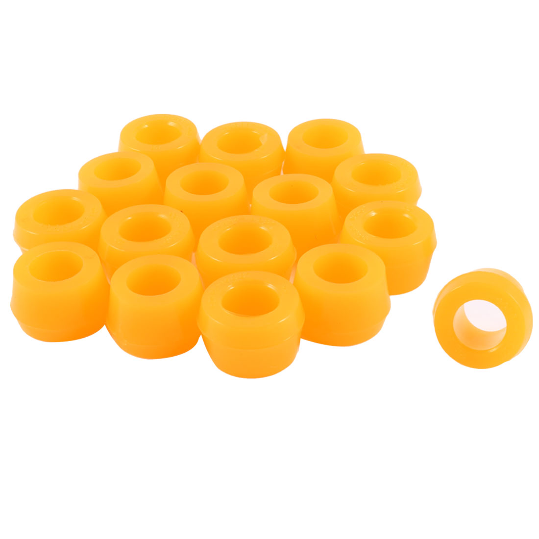 "16 Pcs 0.6"" Inner Diameter Orange Rubber Shock Absorber Bushings Part for Auto"