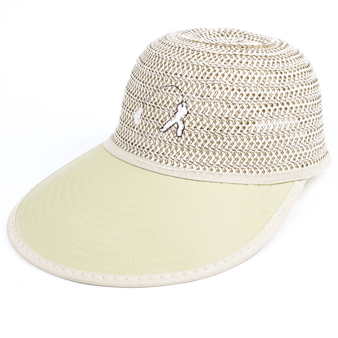 Fishing Stripes Braided Ribbon Back Khaki Sun Visor Hat Cap Decor for Man