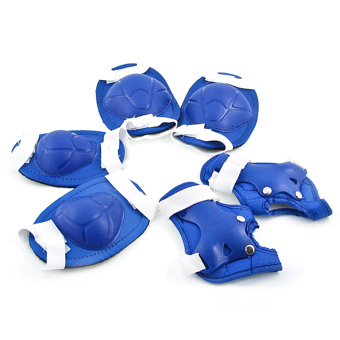 Kids Skating Sports 3 in 1 Palm Wrist Elbow Knee Support Brace Set Blue White