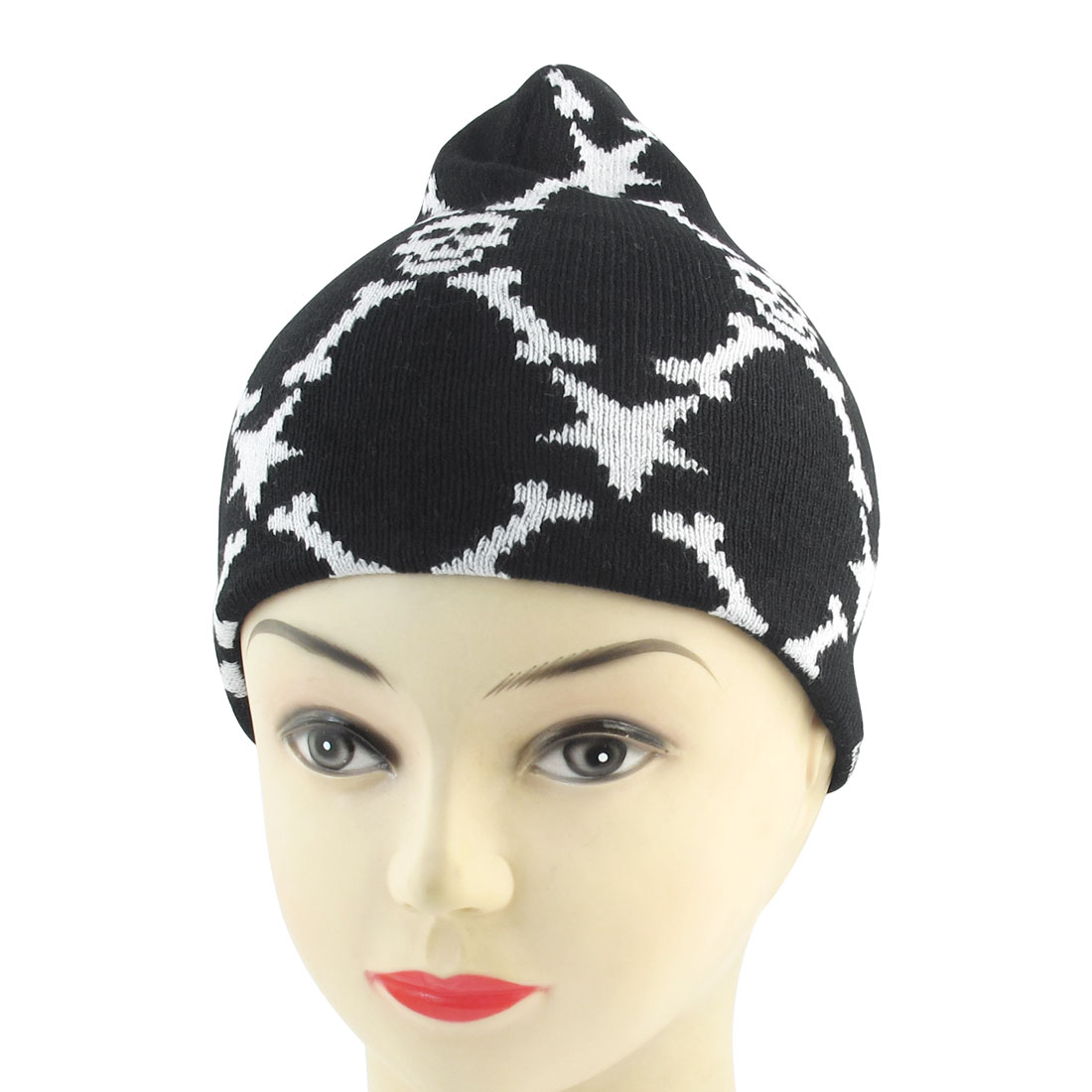 Men Lady Winter Black White Acrylic Knitted Ski Snowboard Running Ribbed Beanie Hat