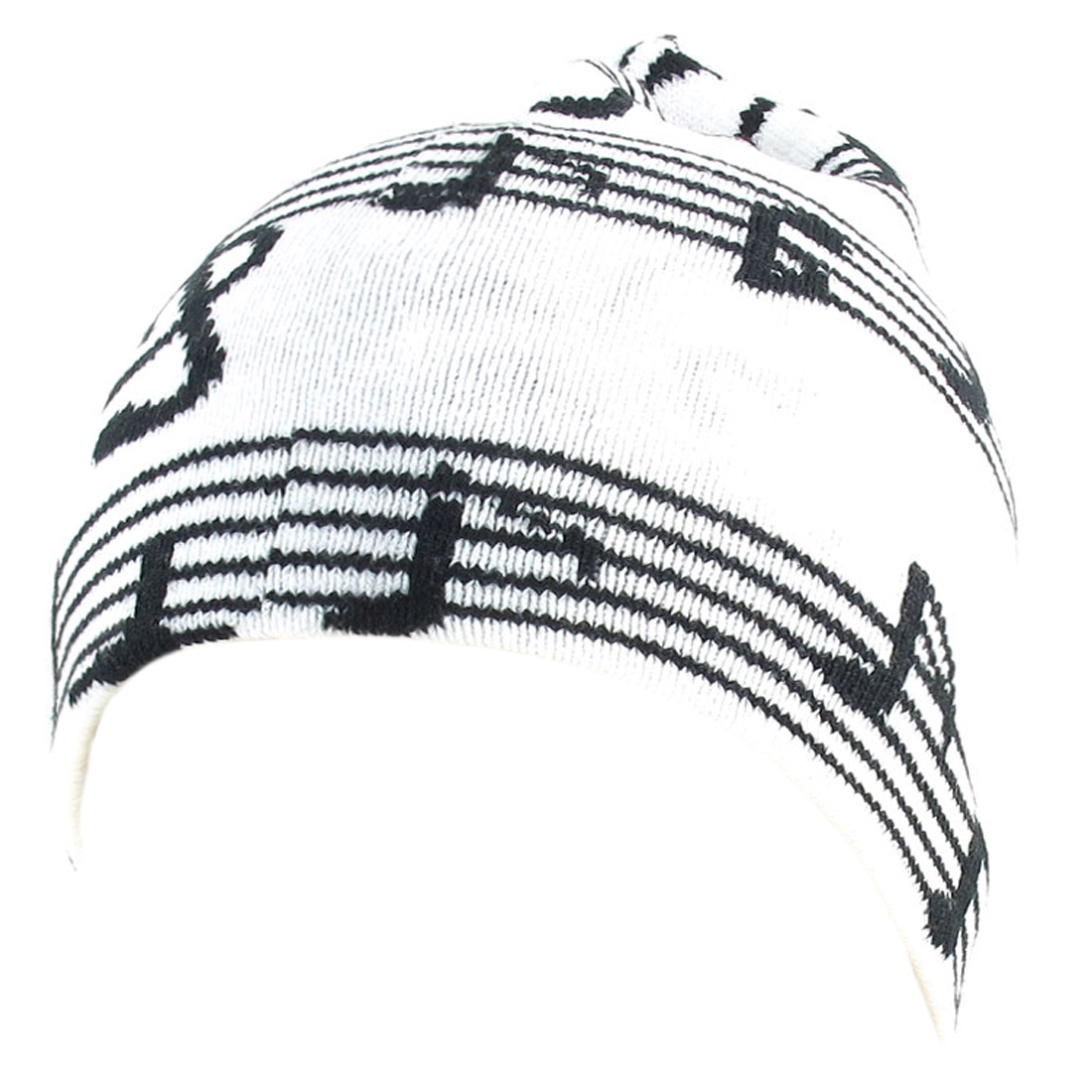 Unisex Black White Elastic Acrylic Knitted Snowboarding Ribbed Beanie Hat