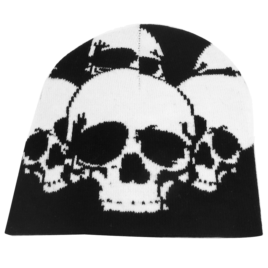 Men Lady Skull Head Pattern Black White Knit Elastic Winter Warmer Beanies Hat Cap