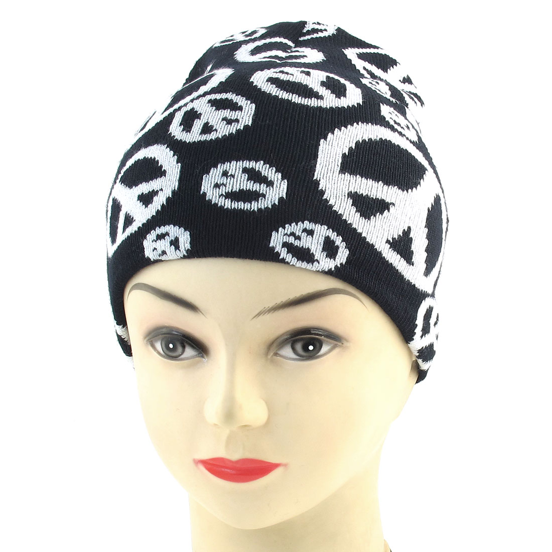 Men Lady Black White Peace Print Stretchy Hand Knit Runnign Beanie Hat Cap
