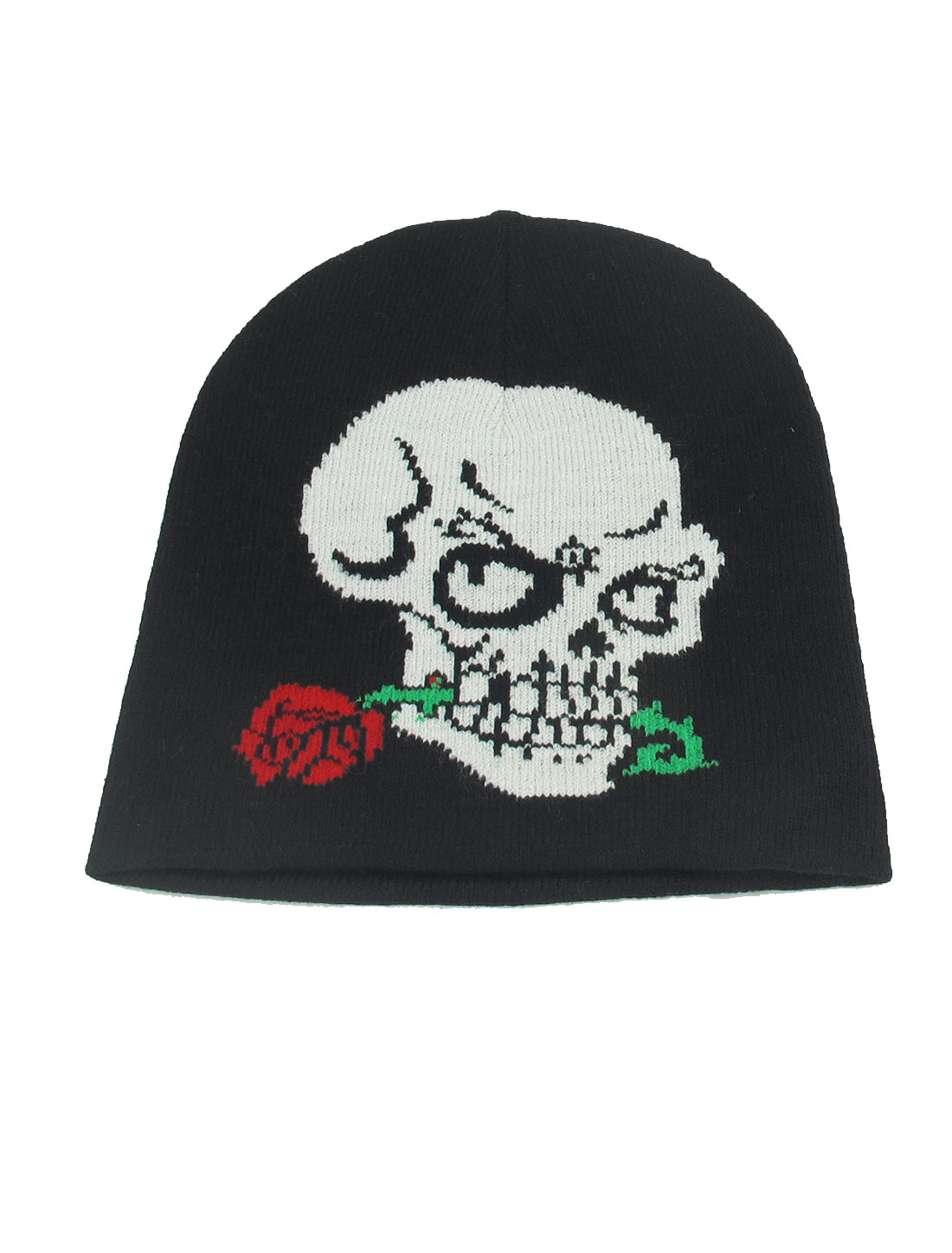 Black White Skull Print Elastic Kniting Warm Winter Beanie Hat Cap for Men Lady