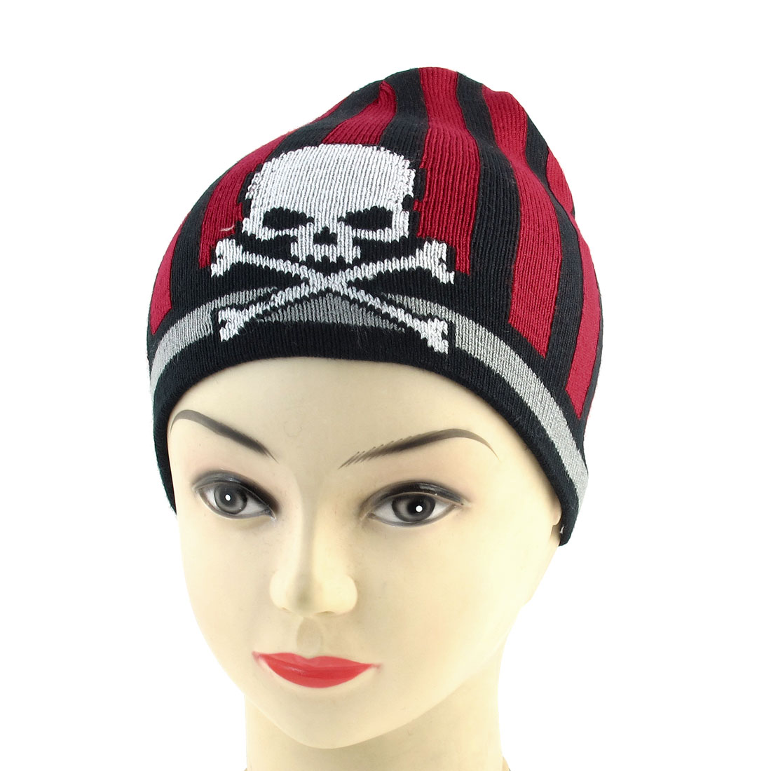Men Lady Black Red Stripes Print Stretchy Hand Soft Knit Running Beanie Hat Cap