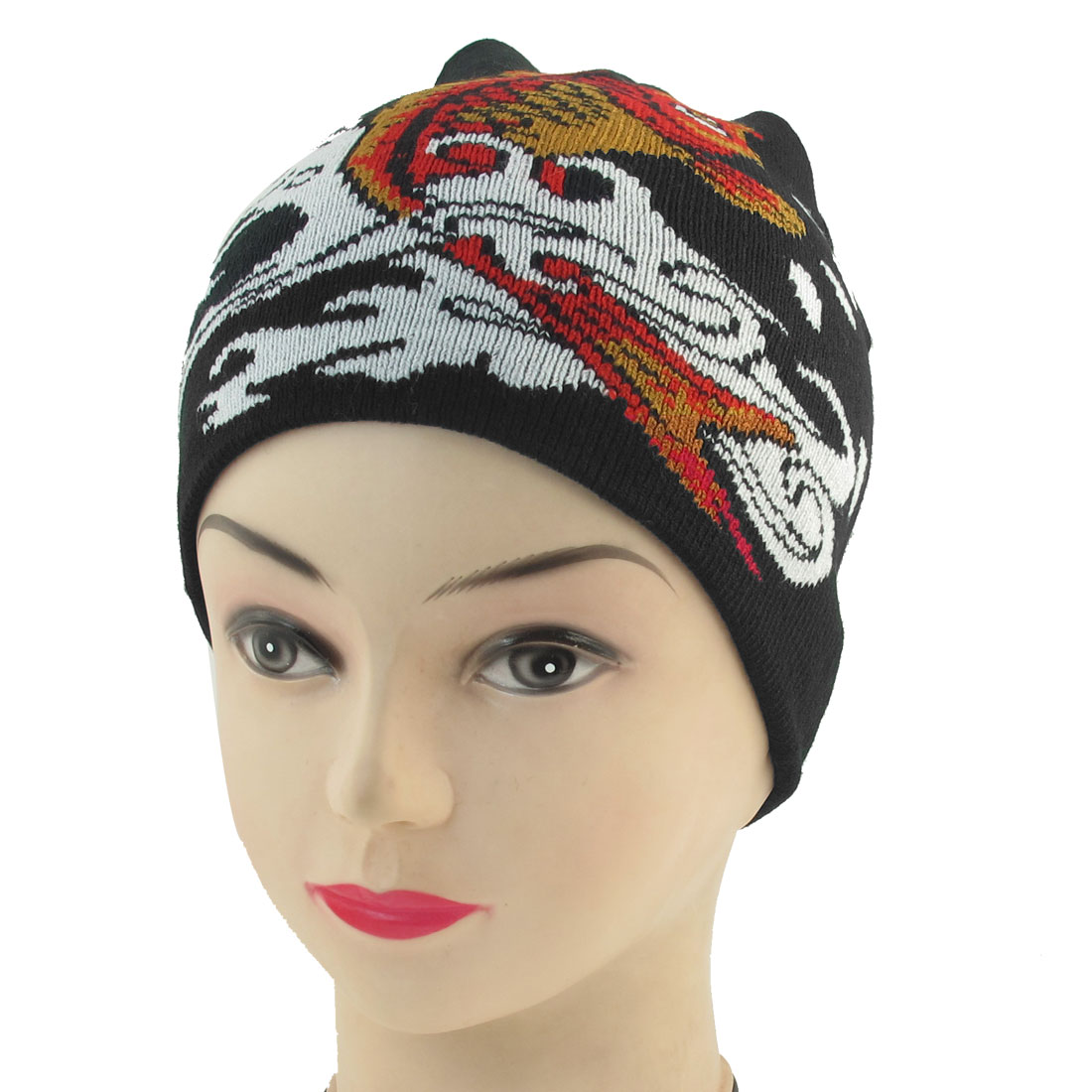 Yellow Red Fish Print Black Knit Elastic Winter Warmer Beanies Hat for Unisex