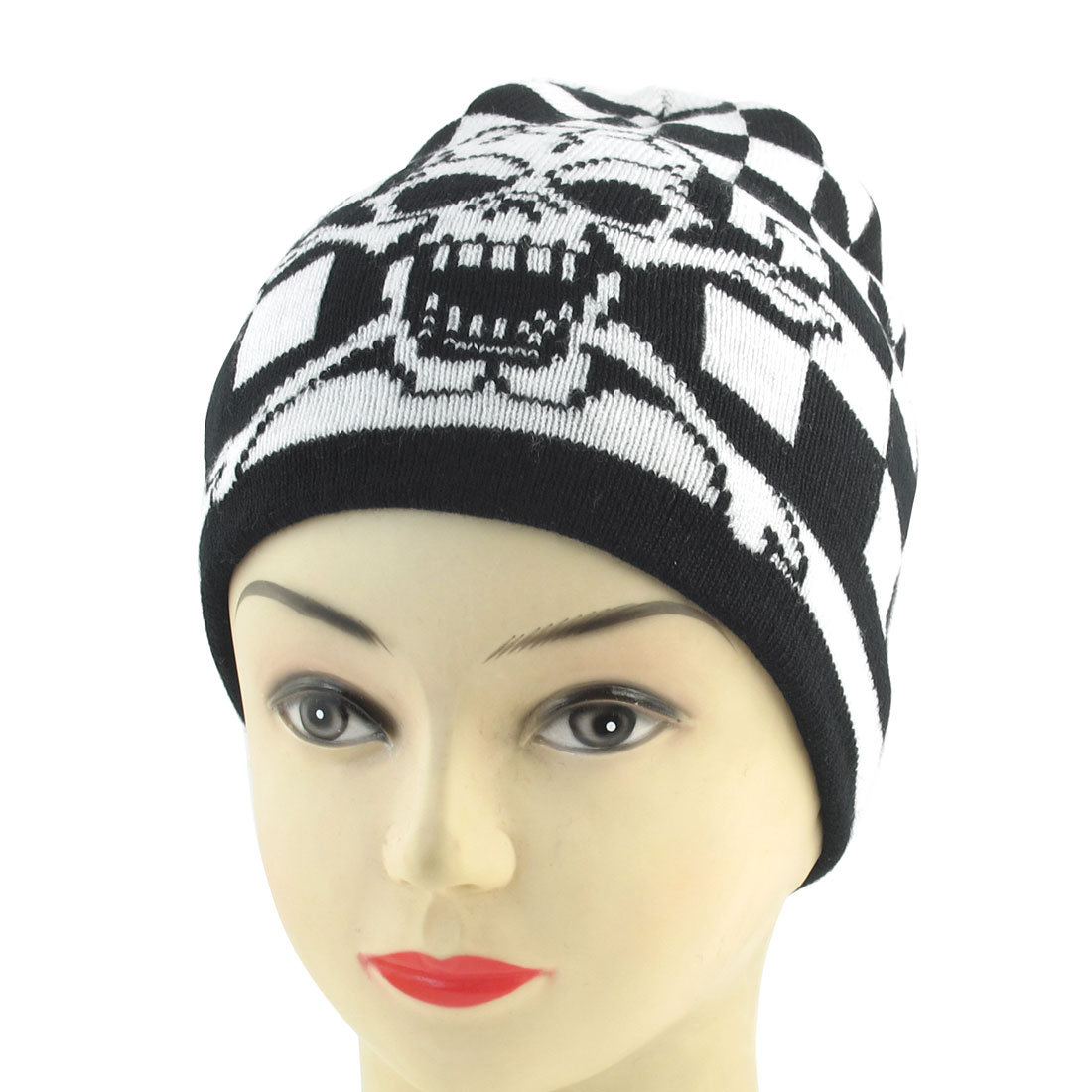 Unisex Black White Acrylic Knitted Snowboarding Sports Braided Ribbed Beanie Hat