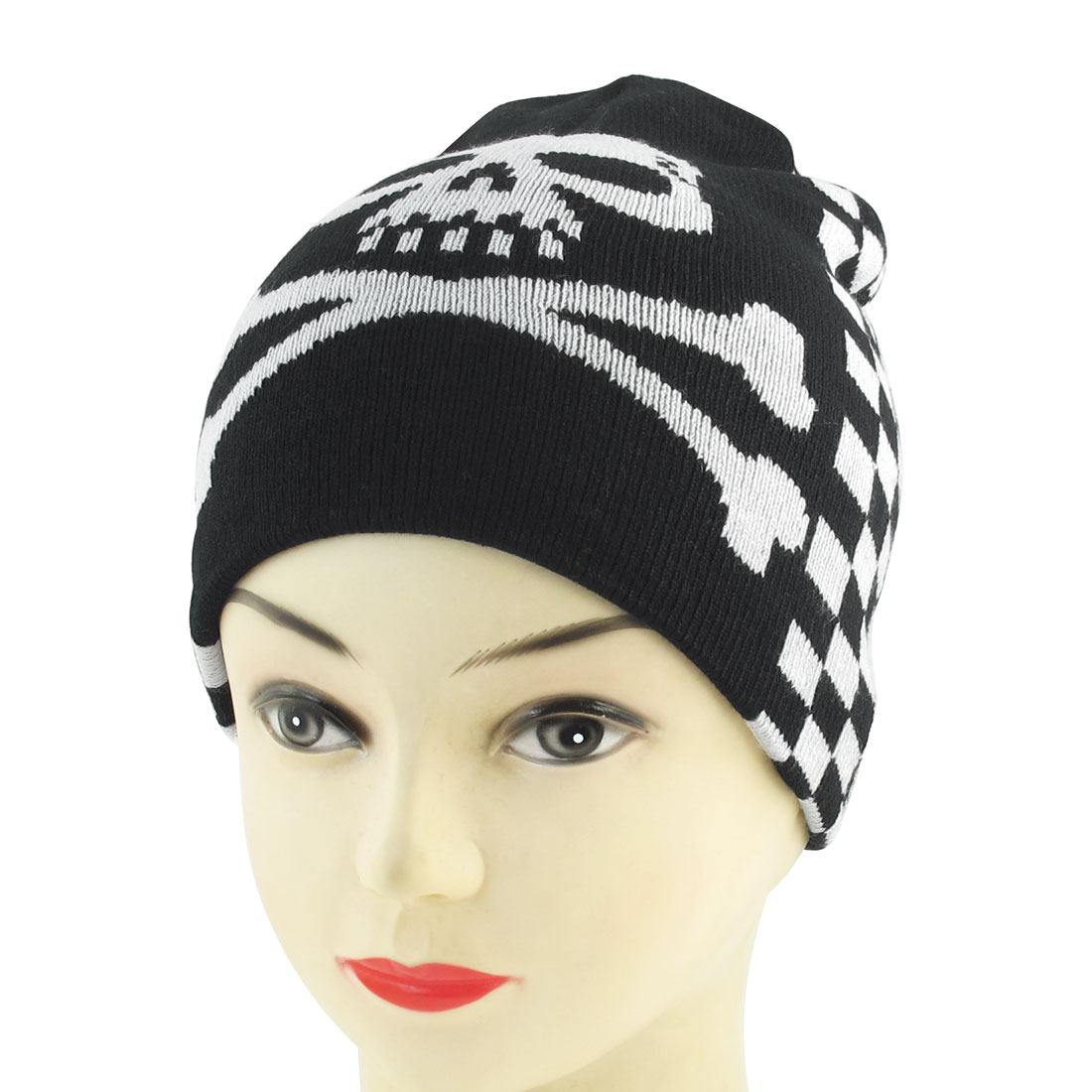 Black White Skull Head Pattern Stretchy Hand Kniting Warm Beanie Hat for Unisex