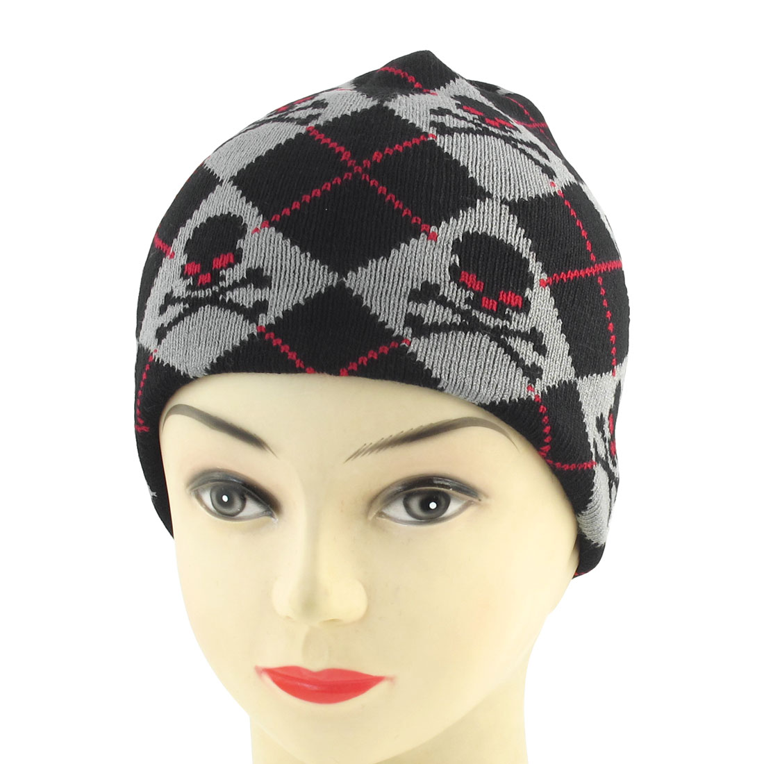 Unisex Black Red Skull Heads Print Knit Elastic Winter Warmer Beanies Hat Cap