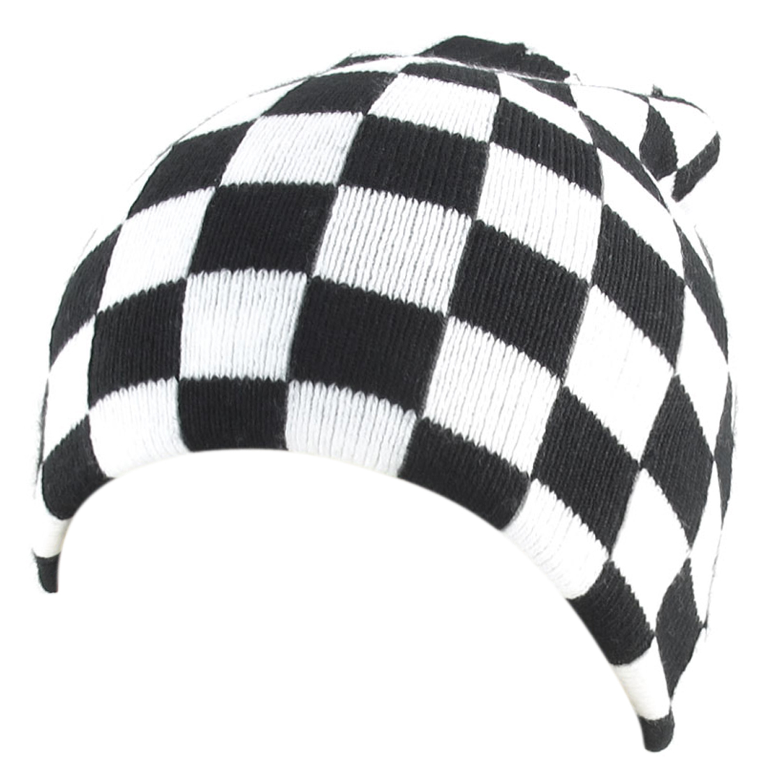 Men Black White Plaids Print Knit Elastic Winter Warmer Fashion Beanies Hat Cap