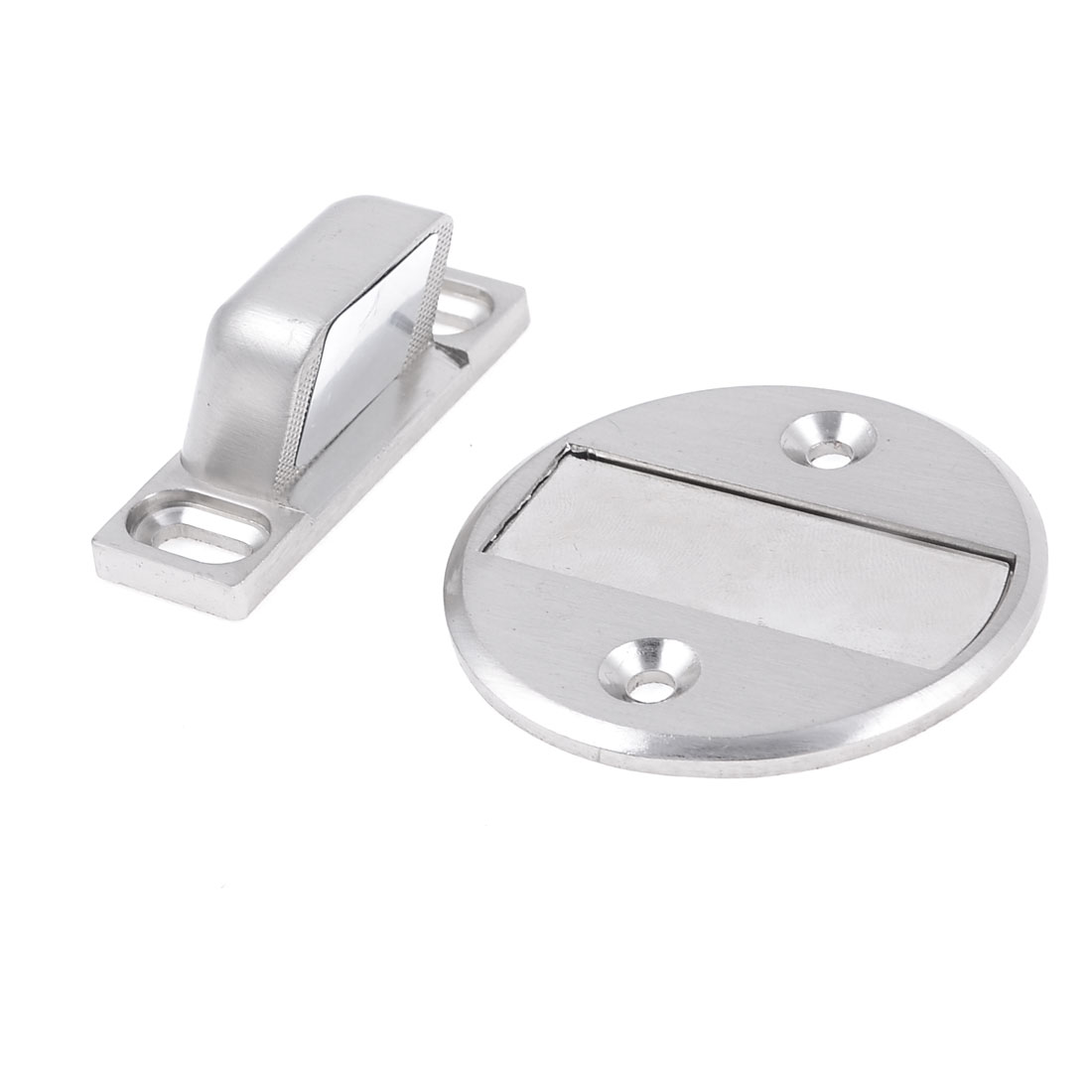 Household Silver Tone Door Stop Magnetic Holder Stopper w Screws