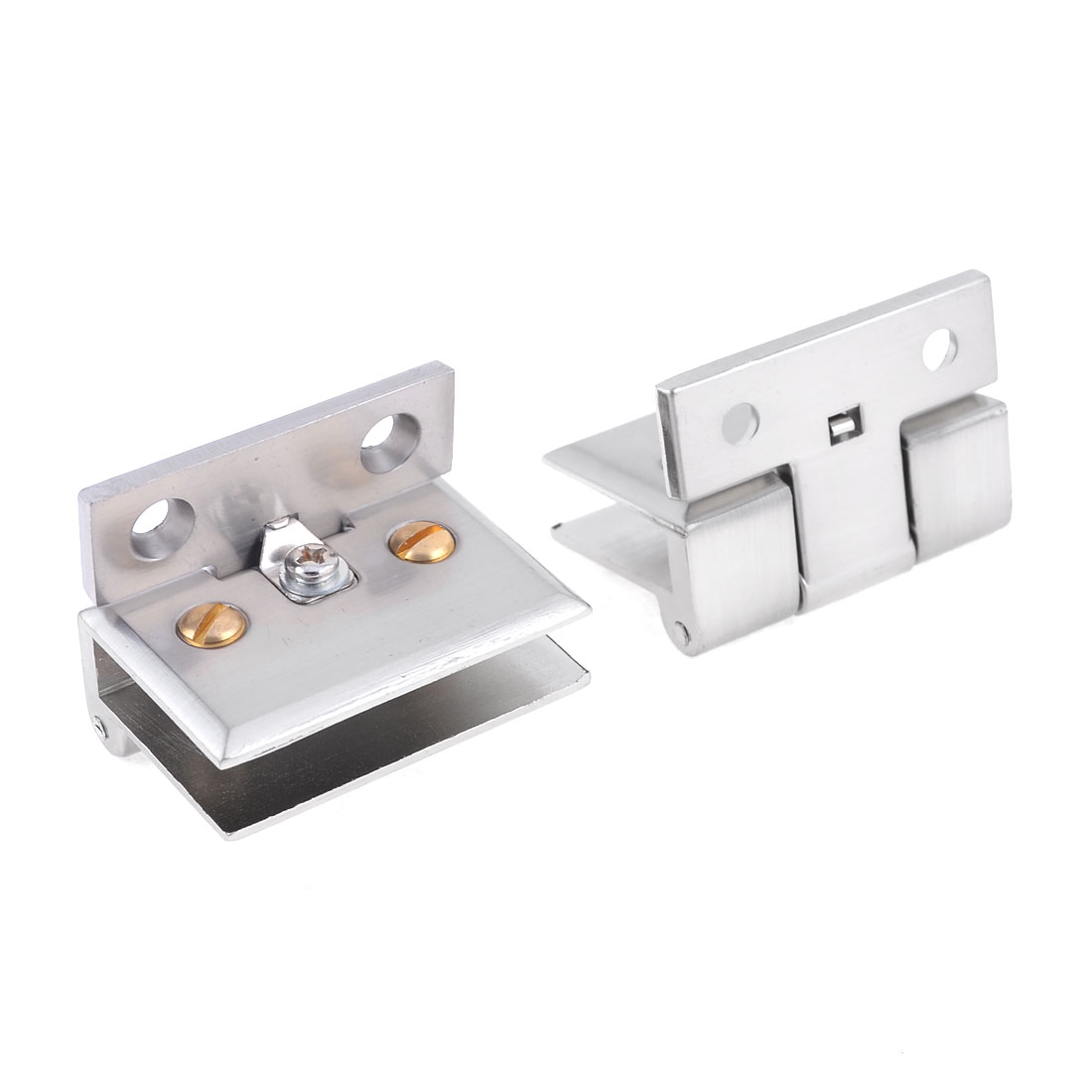 2 Pcs 48mm Length Stainless Steel Rectangular Shape Glass Clamp Clip Silver Tone