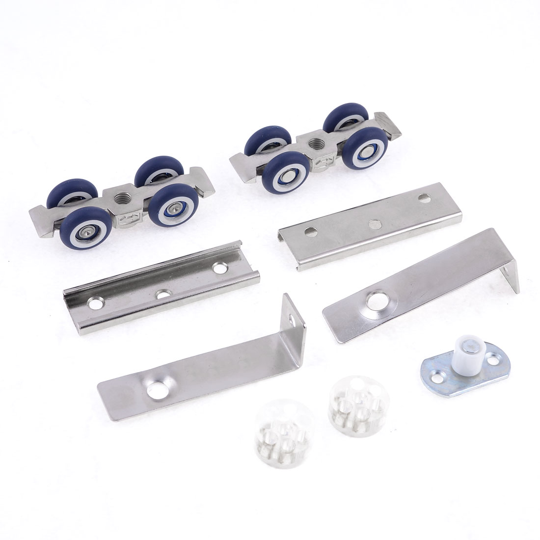 2 Pcs Navy Blue Wheel Silver Tone Wardrobe Closet Sliding Door Roller Set