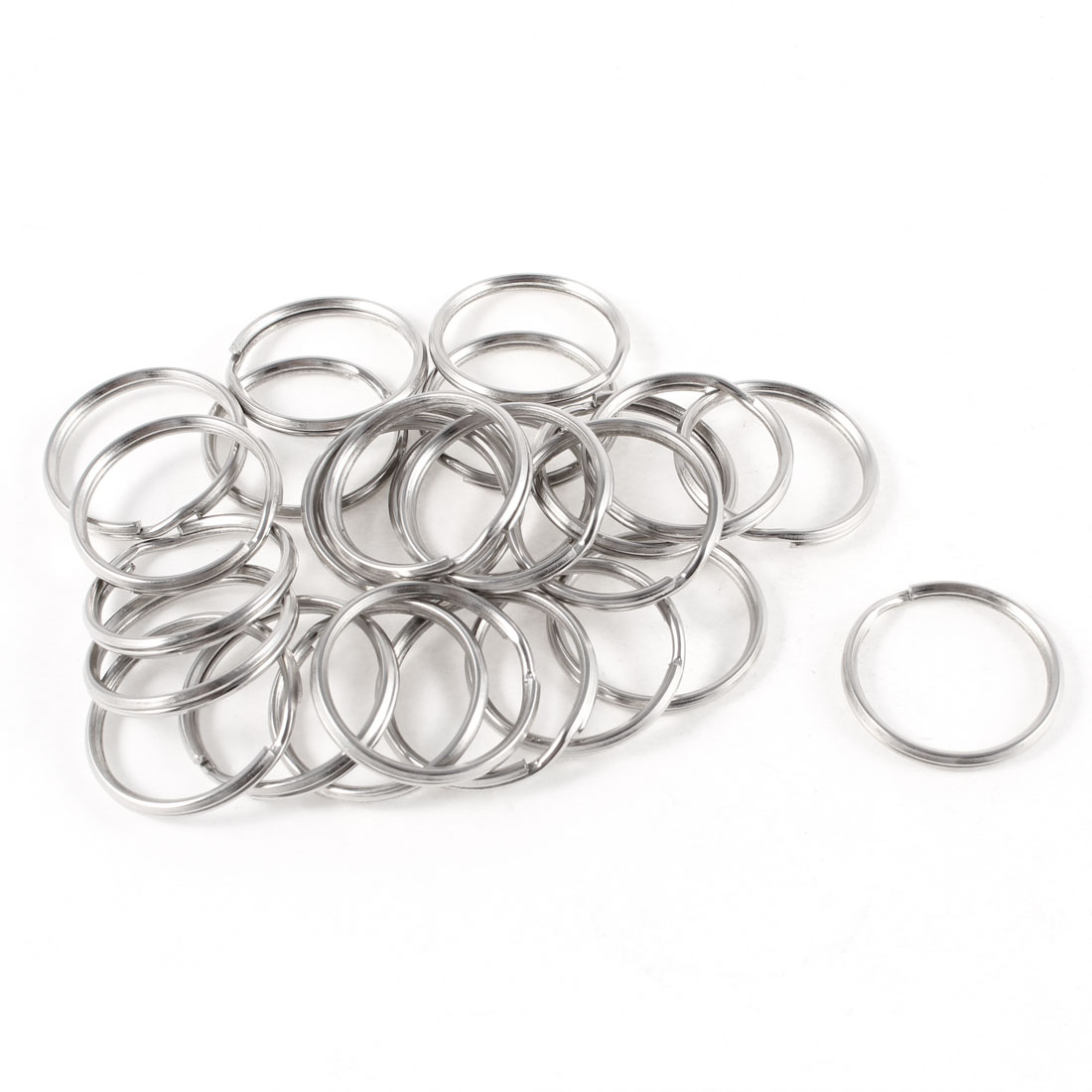 Glossy Metal Double Loop Split Ring Keyring Silver Tone 28mm Outside Dia 25pcs