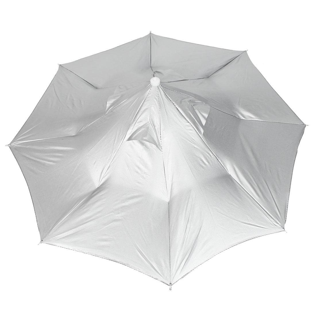 80cm Unfolded Dia Retractable Handsfree Umbrella Hat Cap Silver Tone