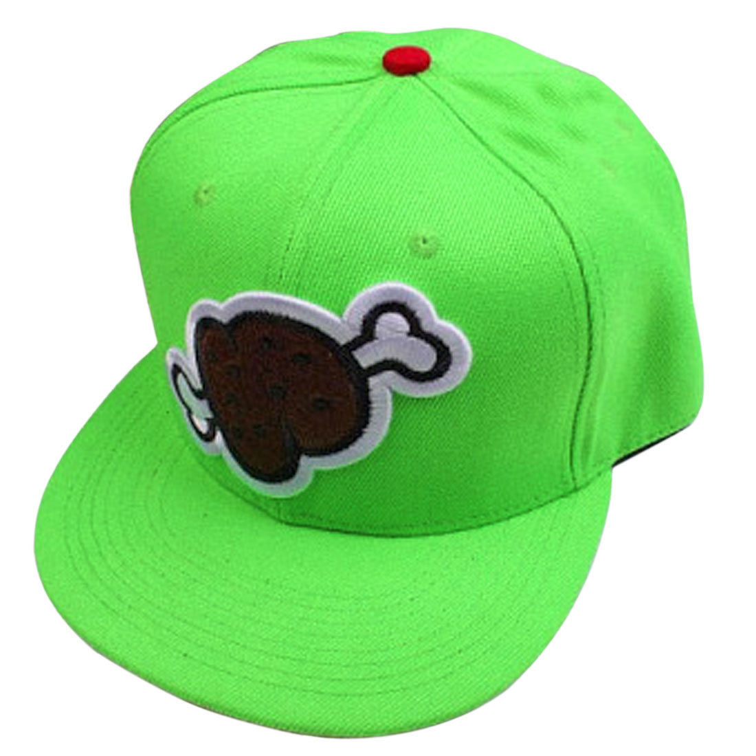 Men Adjustable Strap Bone Embroidery Baseball Hat Light Green Red