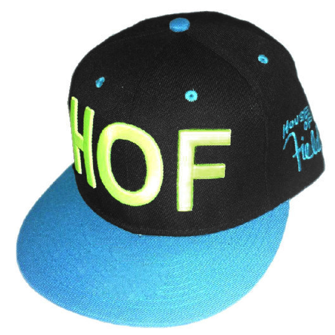 Men Solid Letters Embroidery Contrast Color Hat Black Turquoise