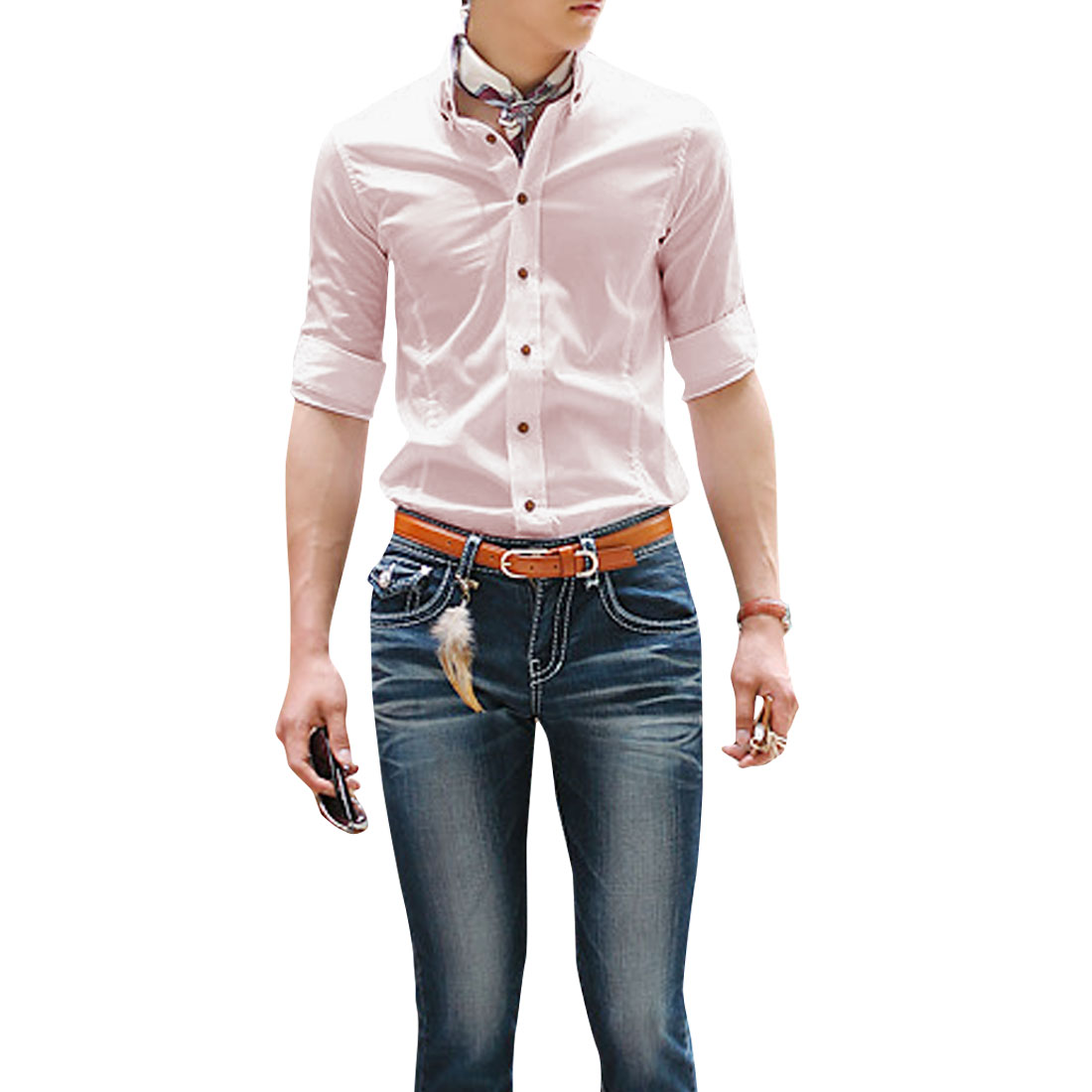 Men Single Breasted Front Straight Design Slim Fit Shirt Light Pink M