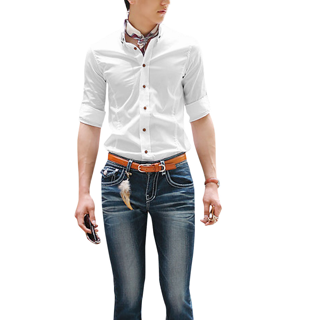 Men Half Sleeve Single Breasted Close-fitting White Shirt M