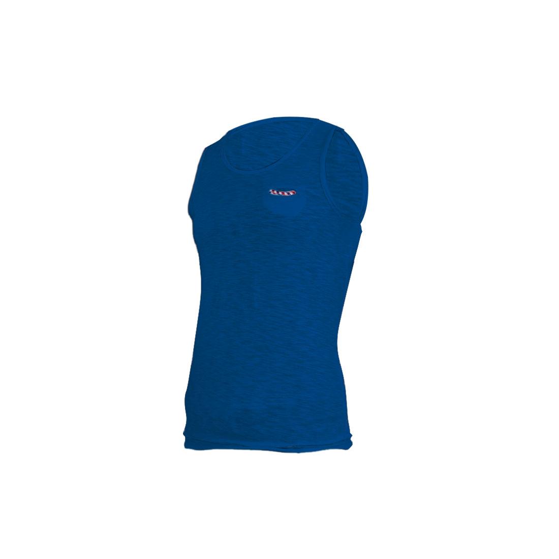 Men Chest Pocket Front Elastic Sleeveless Blue Tank Top S