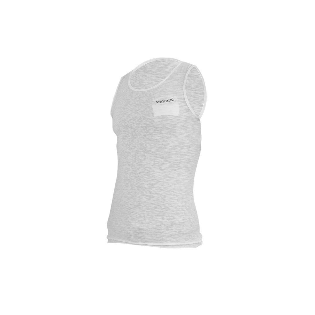Men Straight Pullover Design Sleeveless Leisure Tank Top White S