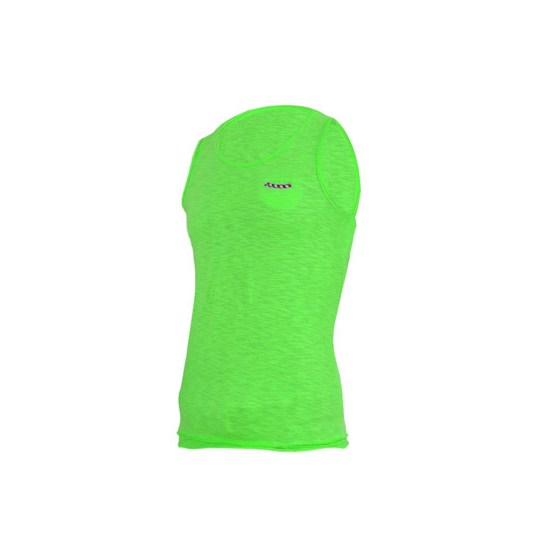 Men Stylish U Neck Pullover Chest Pocket Tank Top Light Green S