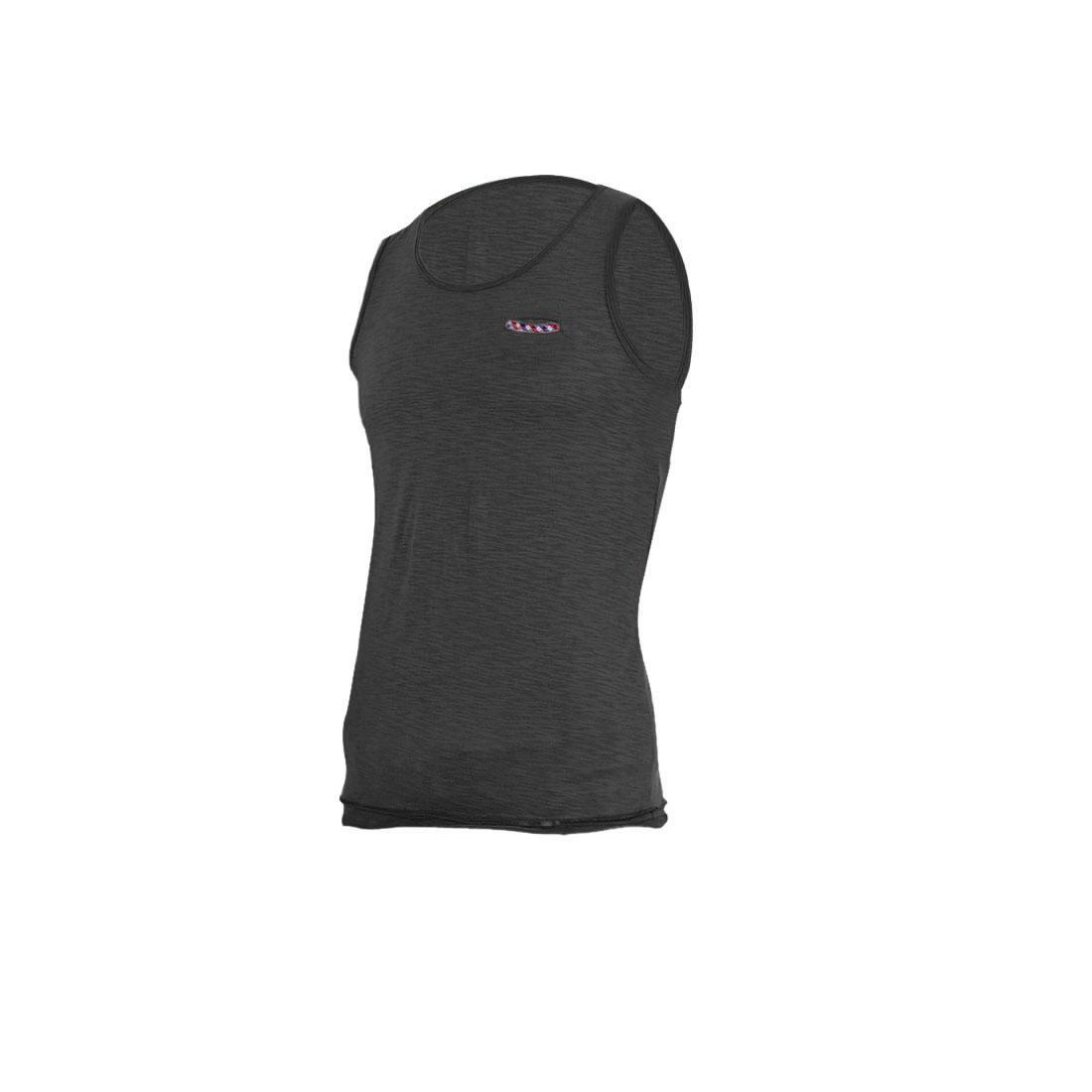 Men Pullover Design Straight Chest Pocket Front Tank Top Dark Gray S
