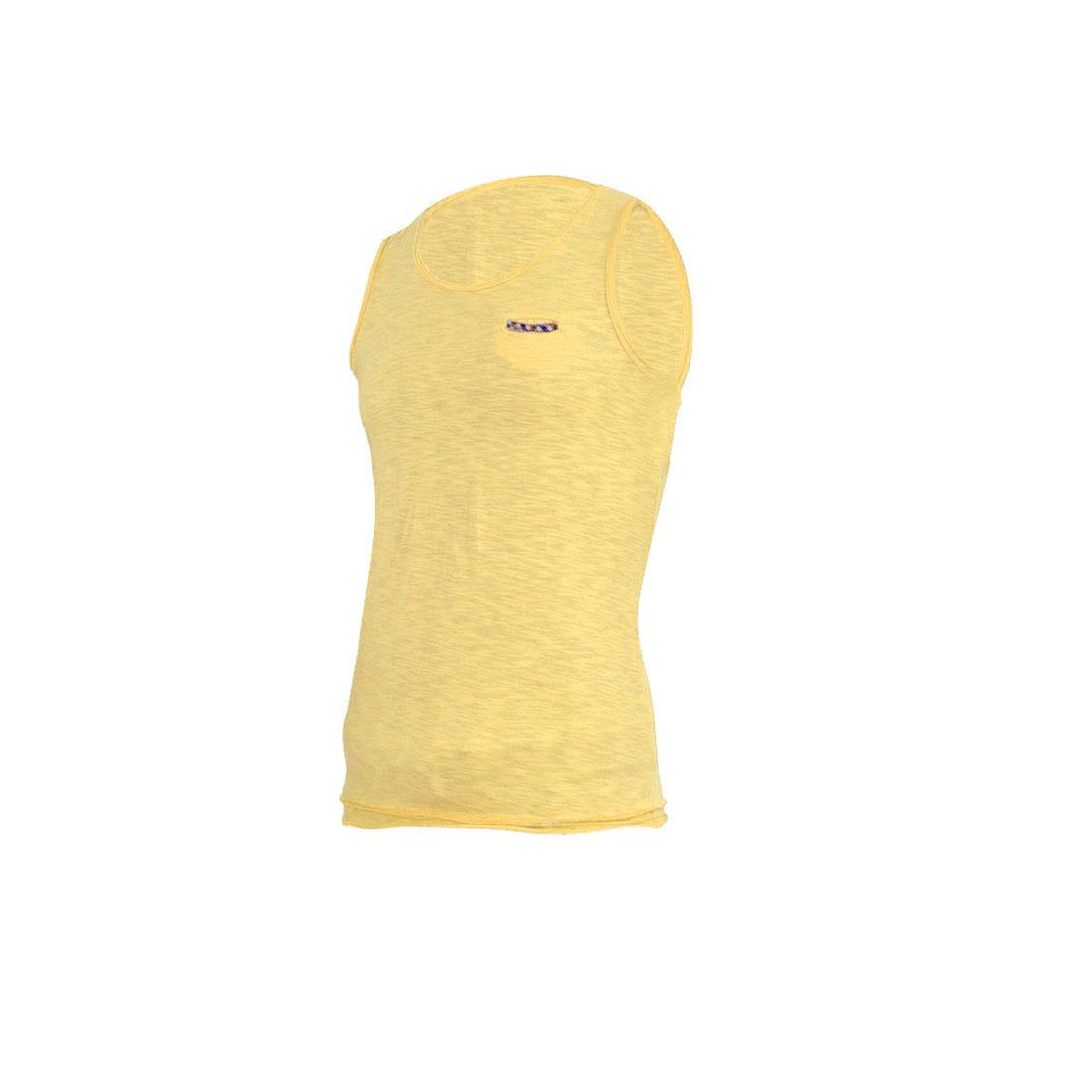 Men's Stylish Light Yellow Sleeveless Pullover Straight Tank Top S