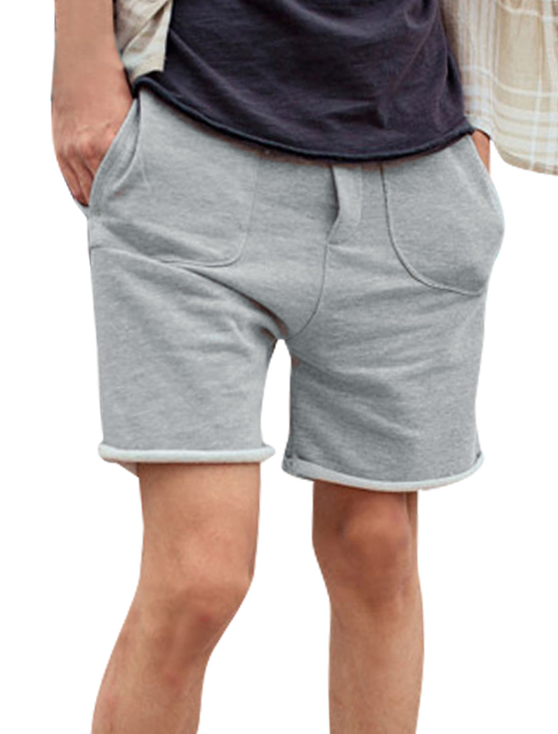 Men Elastic Waist Slant Pockets Design Roll Up Hem Sports Shorts Grey W33