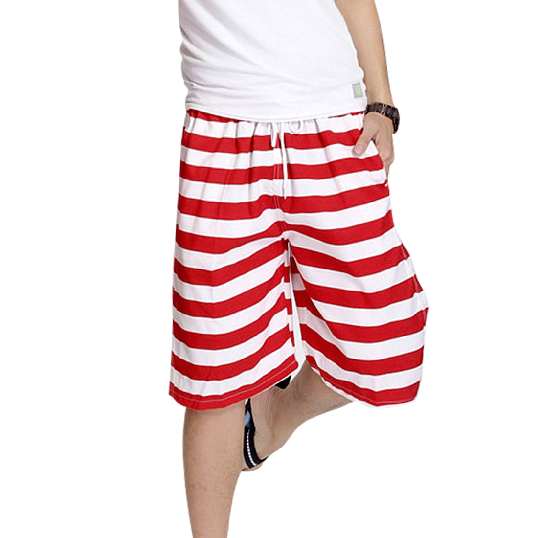 Men Elastic Waist Color Block Two Tone Slant Pockets Casual Shorts Red W33