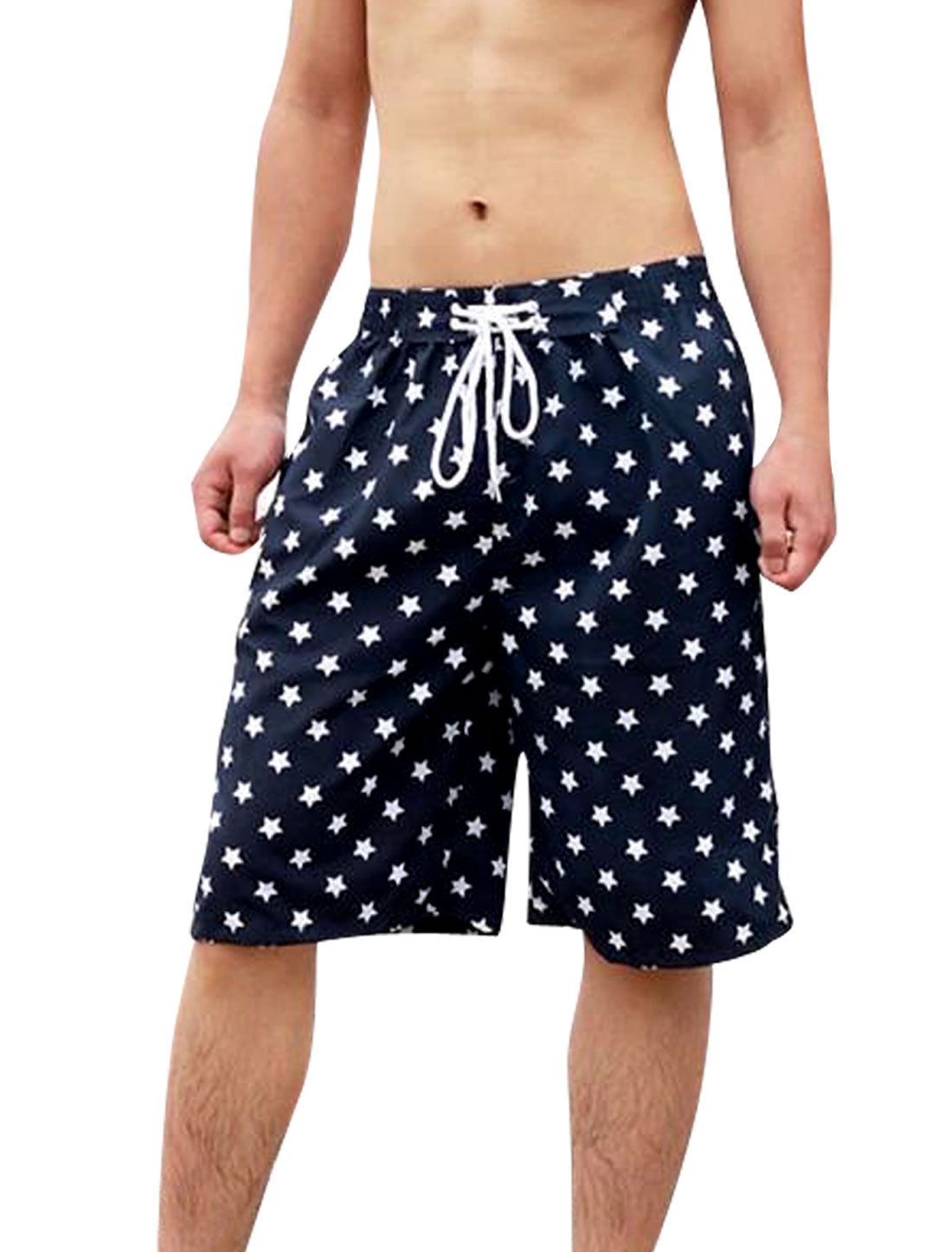 Men Elastic Waist Stars Pattern Drawstring Style Loose Shorts W33 Navy Blue