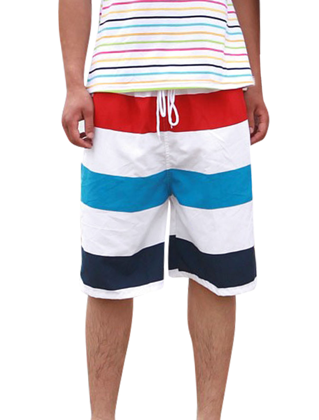 Men Elastic Waist Color Block Slant Pockets Summer Casual Shorts White W33