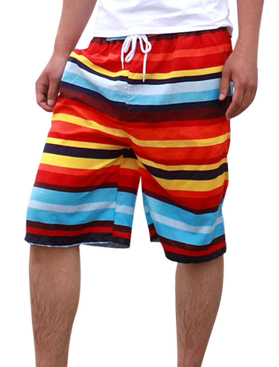 Men Color Block Elastic Waist Drawstring Stripes Print Shorts Multicolor W33