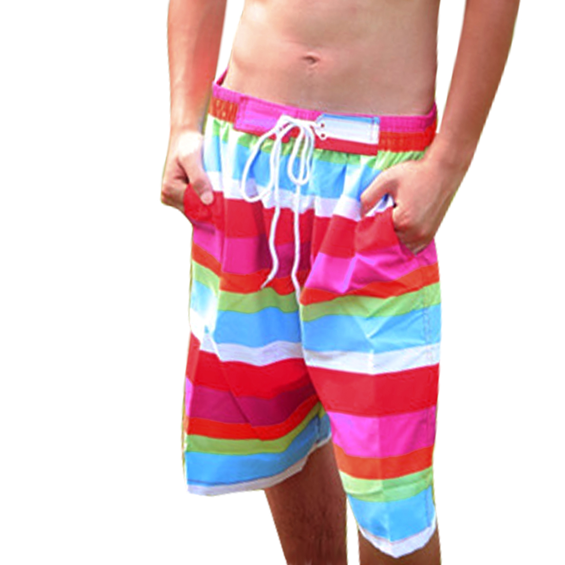 Men Elastic Waist Stripes Pattern Drawstring Style Colorful Shorts Red W30