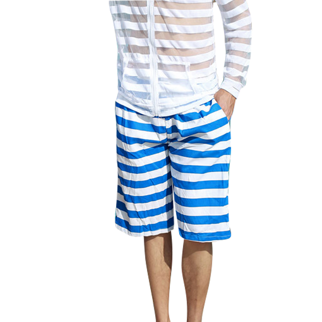 Blue W33 Back Pocket Front Pockets Drawstring Style Men Fashionable Shorts