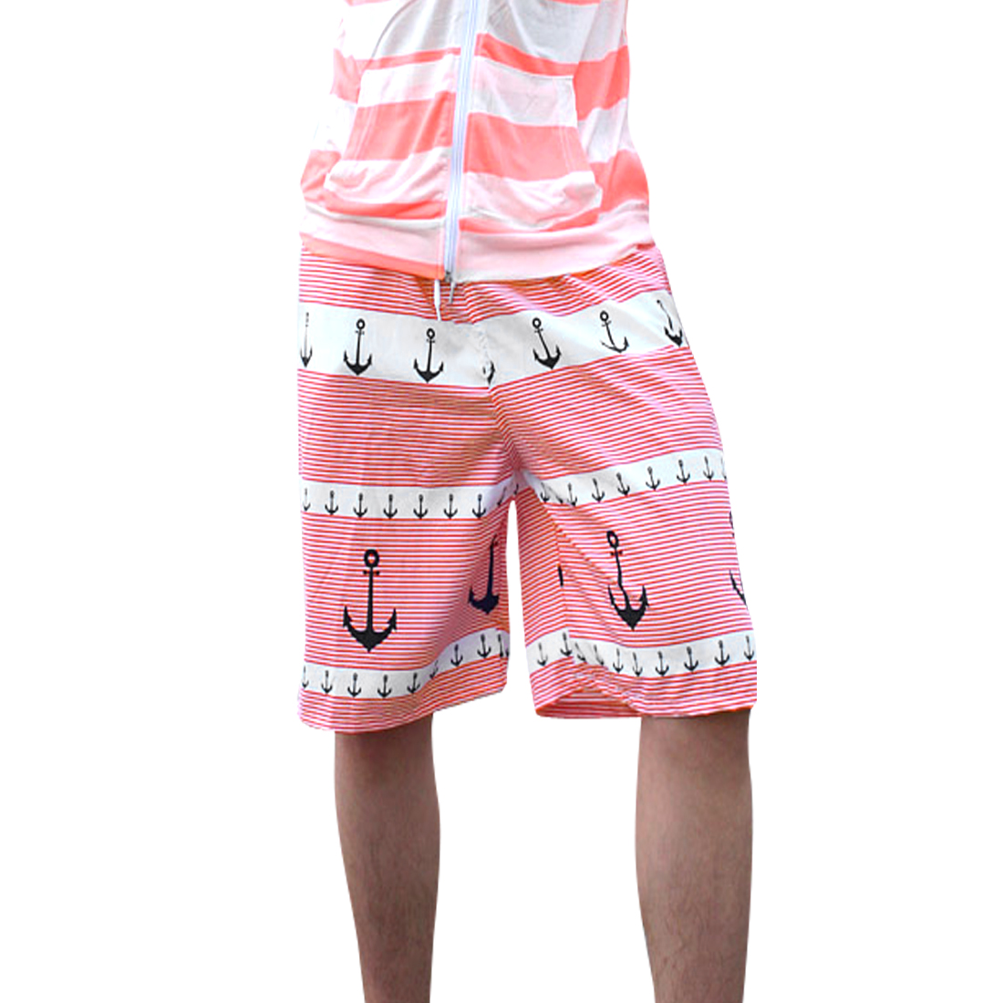 Men Stretchy Waist Back Pocket Drawstring Design Color Block Shorts W33 Red