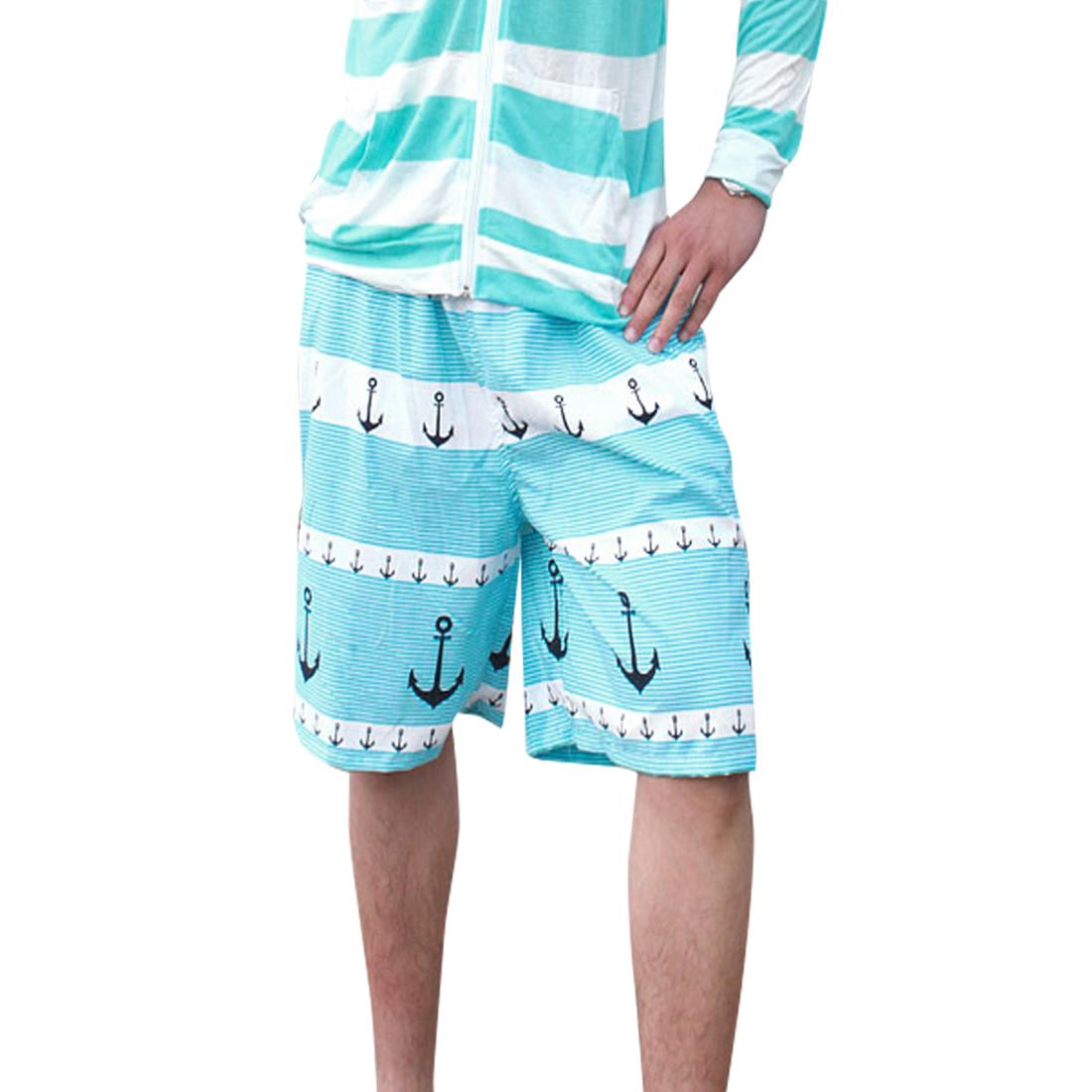 Men Elastic Waist Front Slant Pockets Dreawstring Style Shorts Blue W33