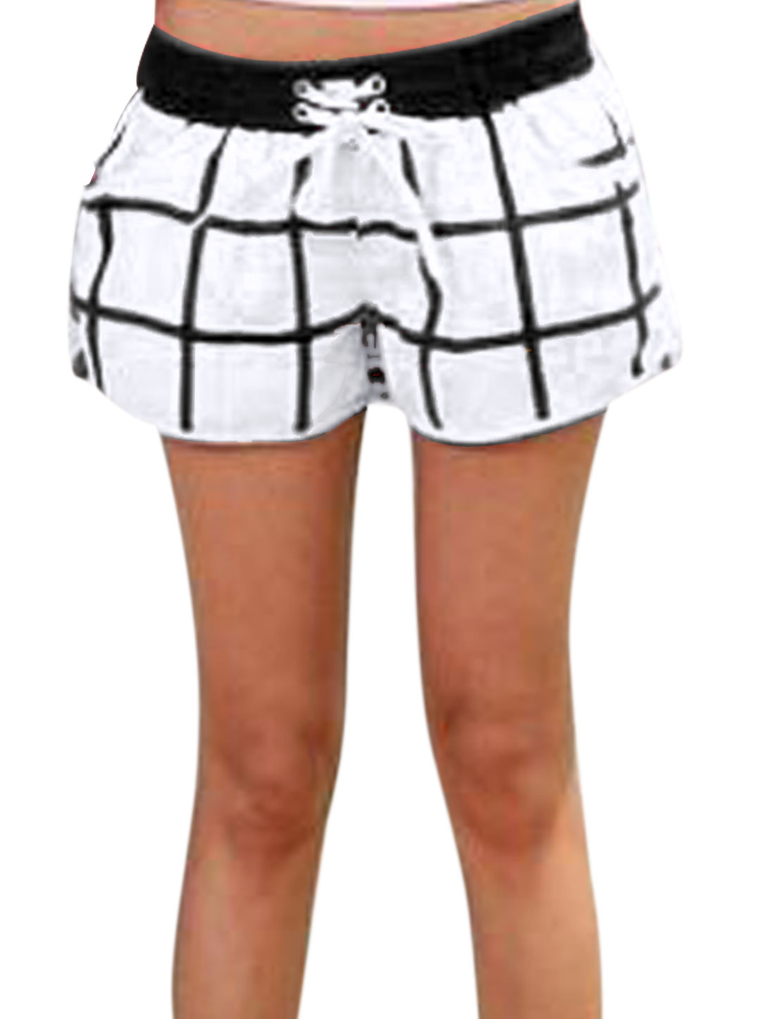 Women Elastic Waist Drawstring Two Tone Color Block Shorts S White Black