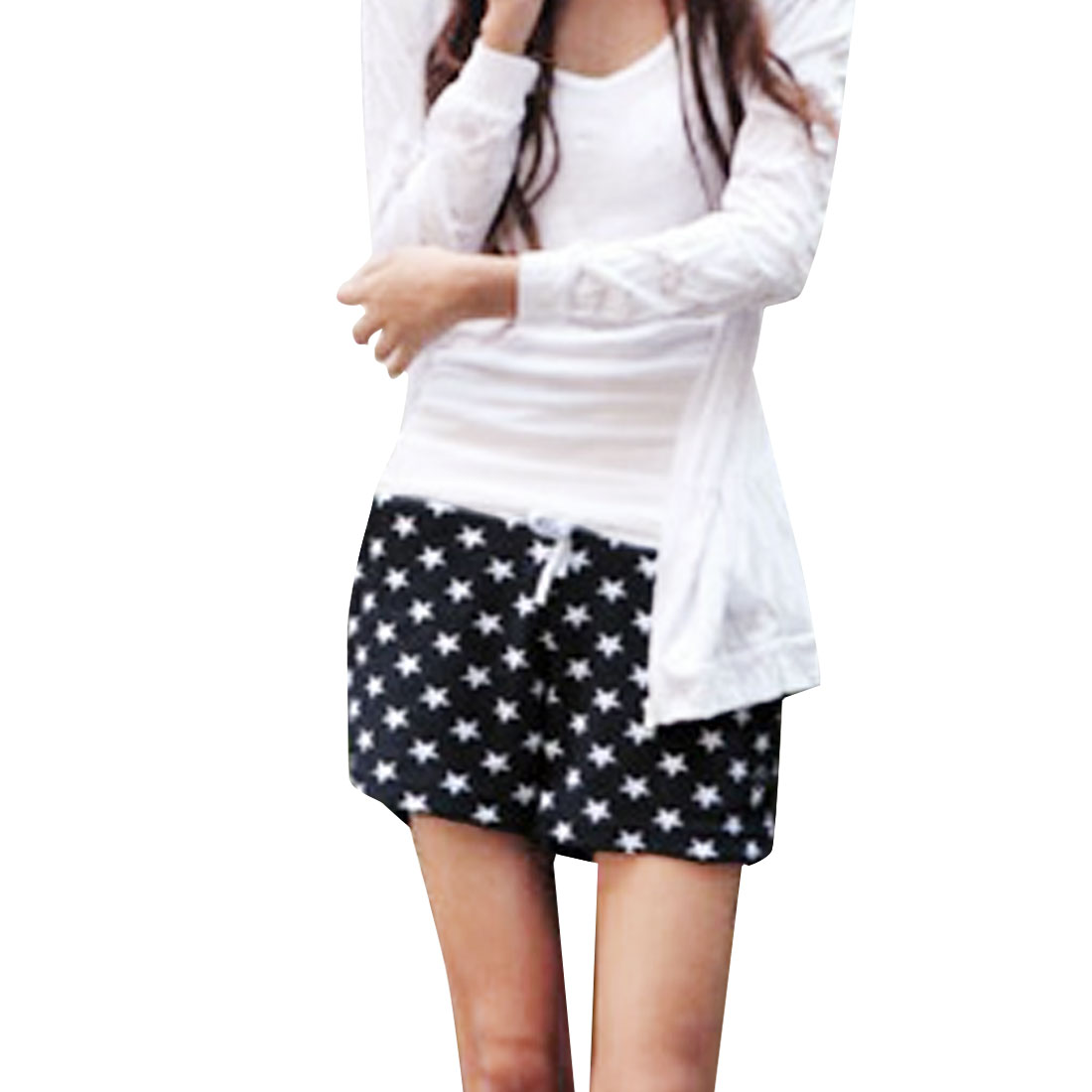 Women Elastic Waist Design Drawstring Stars Pattern Shorts M Navy Blue