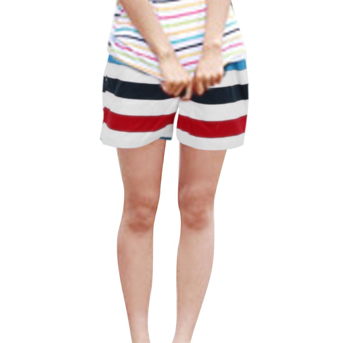 Women Elastic Waist Drawstring Design Color Block Summer Shorts M White