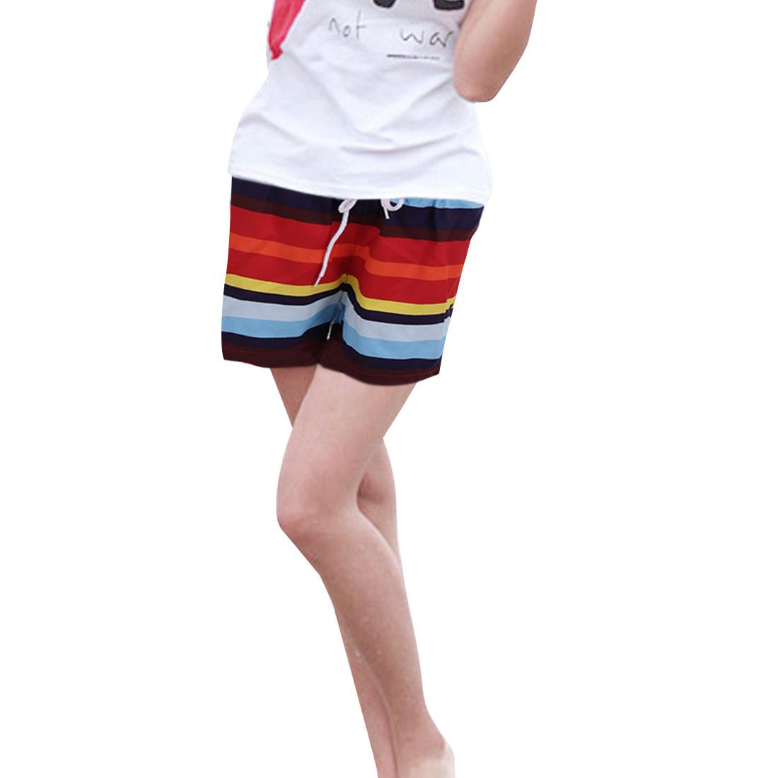 Women Elastic Waist Drawstring Style Color Block Beach Shorts M Multicolor