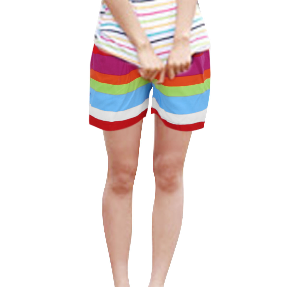 Women Elastic Waist Drawstring Stripes Pattern Summer Shorts M Multicolor