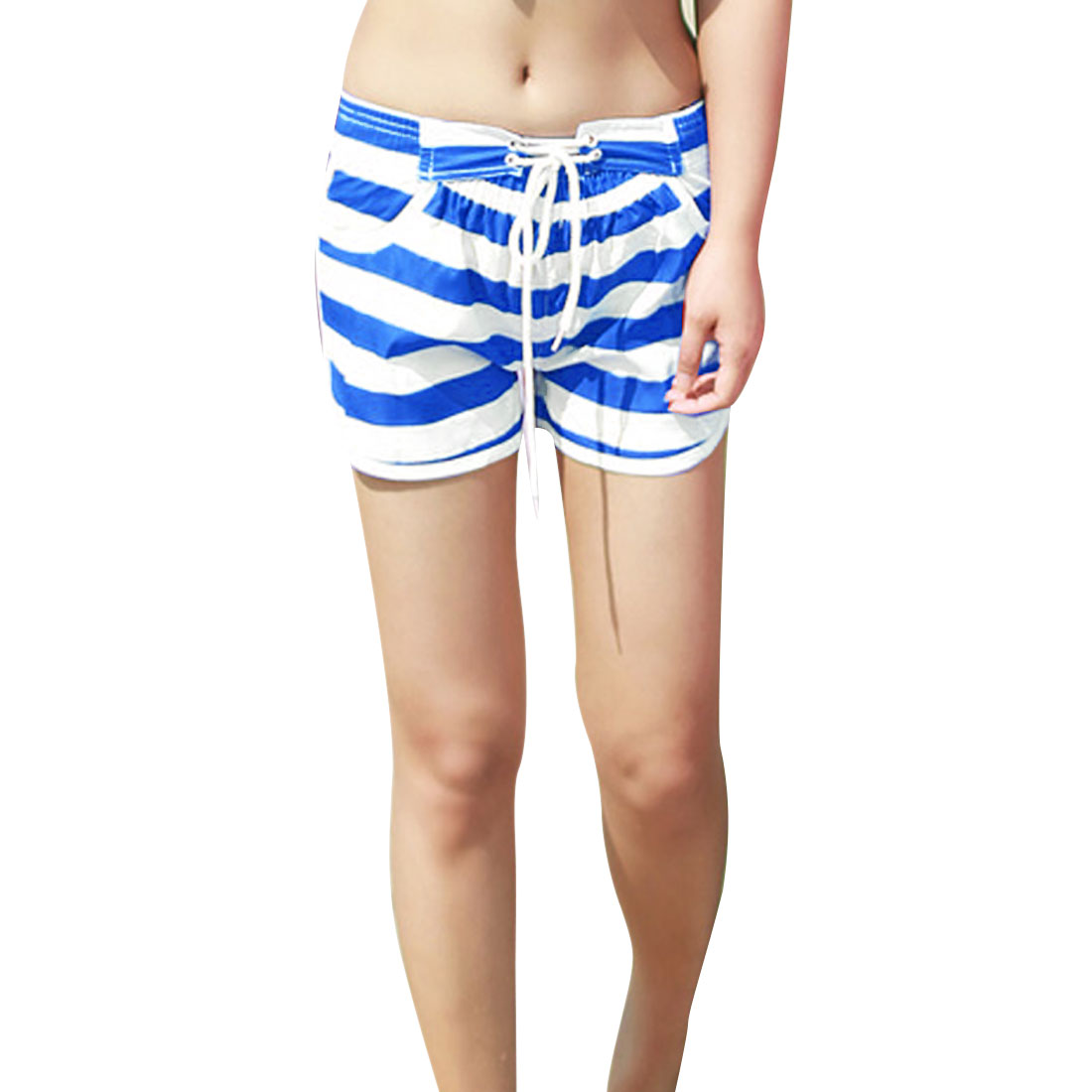 Lady Stylish Split Side Detail Stripes Pattern Blue White Casual Shorts XS